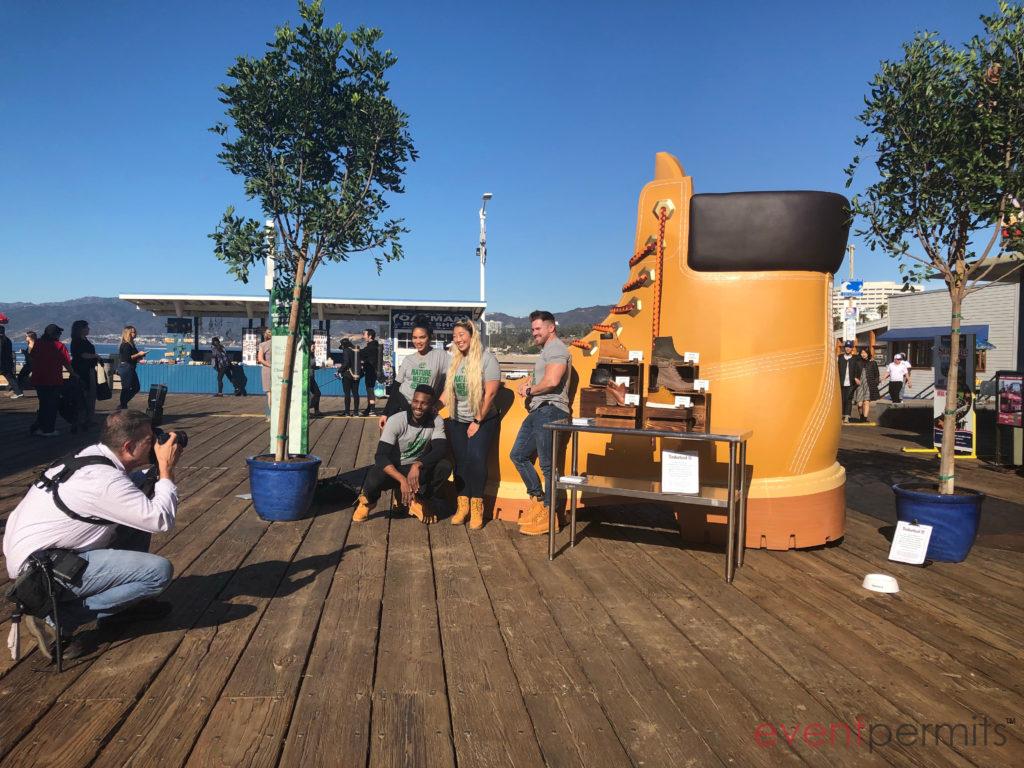 Life-size Timberland boot a Santa Monica Pier.