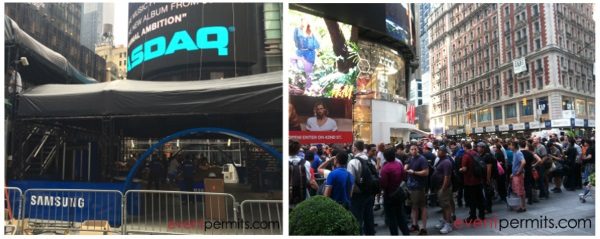 permitting product launch in times square